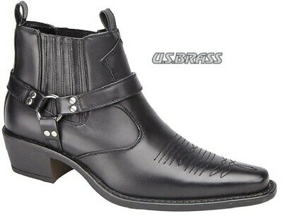 Mens US Brass Black Harness Cowboy Slip On Ankle Boots Sizes 7 to 12