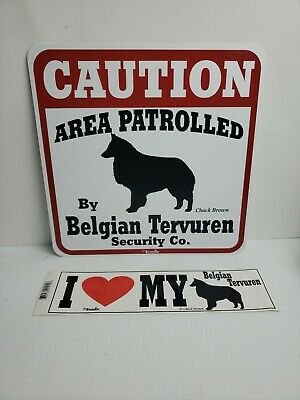 Belgian Tervuren Caution Dog Sign and Sticker