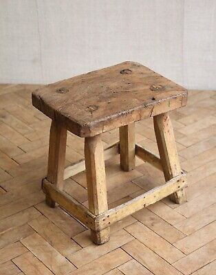 Vintage Rustic Folky Wooden Farmhouse Milking Stool Side Table