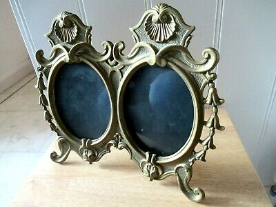 Lovely Antique / Vintage Solid Brass Double Ornate Photo Frame. Easel Back Stand