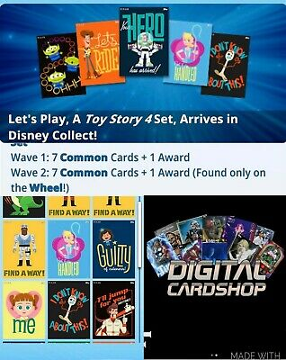 Topps Disney Collect Card Trader Toy Story 4 Lets Play Wave 1 & 2 w/ 3 Awards