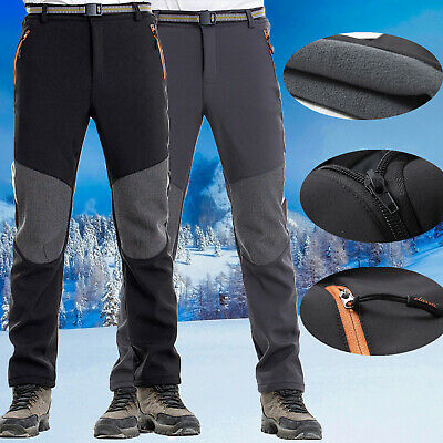 Men SOFT Shell Outdoor Trousers Thick Fleece Hiking Spots Cargo Pants Waterproof