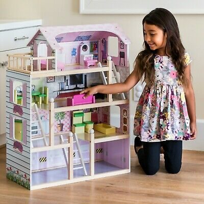 Large Wooden Dollhouse Cottage Uptown 13 Pieces Furniture Girls Barbie Dolls US