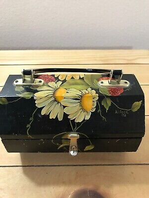 Vintage Wooden Lined Purse Signed Aileen '73