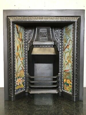 Original Restored Antique Cast Iron Victorian Tiled Insert Fireplace (QP369)