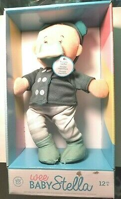 """NEW Wee Baby BOY Stella w Magnetic Pacifier Beige 12"""" Soft Doll Toy Green 12m+"""