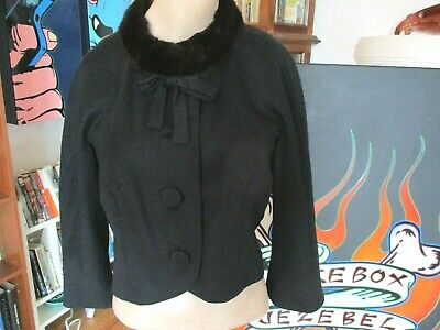 Fabulous! Vintage 50'S Blin & Blin S/M Black Mink Jacket Wool Mad Men Rockabilly