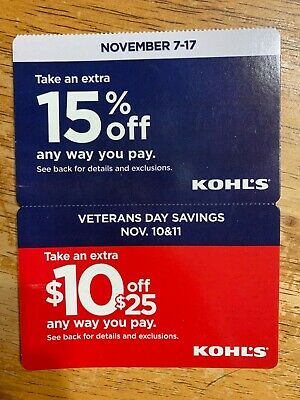 Kohl's In-store/online coupons Nov 7-17 & Veterans Day 15% off, $10 off $25