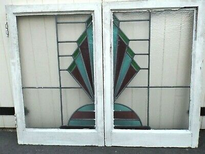 A pair of Stained Glass Art Deco windows from the 1930's