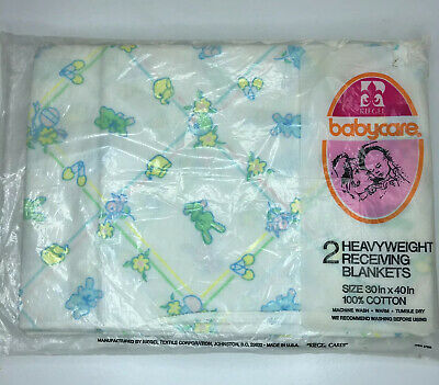 2 Vintage Riegel Cotton Receiving Blankets BabyCare New in Package Bunny Bears