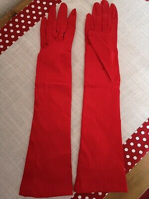 Vintage Red Strechy Satin DENTS Gloves Size 6.5 - Woven Helanca A Heathcoat fabr