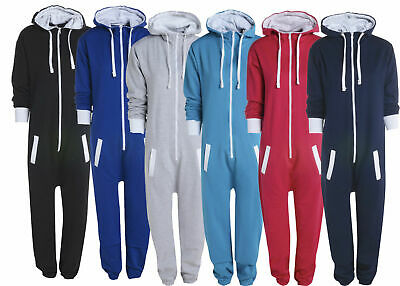 Kids Girls Boys Plain Hooded All In One Jumpsuit 1Onesie Pyjamas Sizes 7-14 Yrs