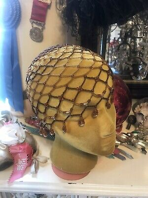 Rare VTG Antique Art Deco 1920S Fringed Skull Cap Flapper Amber Beaded Cloche