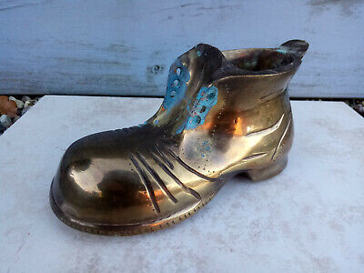 """Large/Heavy Vintage Solid Brass Old Boot 7 1/2"""" Long - Doorstop"""