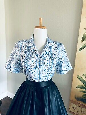 Vintage Floral 50s 60s Blouse Sexy Short Sleeve Shirt Retro Button Up Pin Up Top