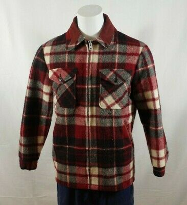 Vintage Woolrich 1960s Men's Plaid Fleece Lined Wool Jacket Red Medium