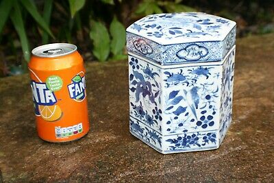 Antique Chinese Porcelain Blue and White Hexagon Pot with Lid