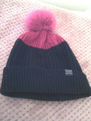 Joules Knitted Cable Pom Pom Hat Navy One Size