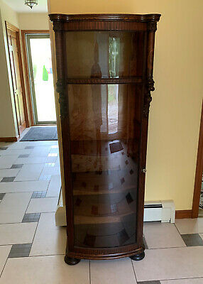 Antique Oak Curved Glass Curio China Cabinet Vitrine Bookcase Victorian Carvings