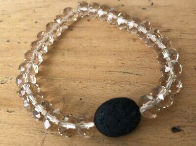 Amber CRYSTAL Black LAVA BEAD AROMATHERAPY ESSENTIAL OIL DIFFUSER Yoga BRACELET