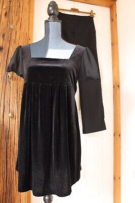 Black Chiffon Velvet Belted Top/Blouse And Smart Over Bump Trousers UK 10 Bundle