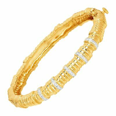 Bamboo Hinge Bangle with Diamonds in Rhodium & 18K Gold-Plated Bronze, 7.5""