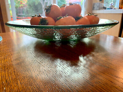 """NEW 17"""" Olive Fire and Light Recycled Glass Zen Bowl"""