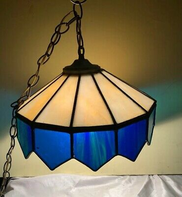 "Antique/Vtg 14""   Mount Stained Glass 1 Light Chandelier Blended Blue And Green"