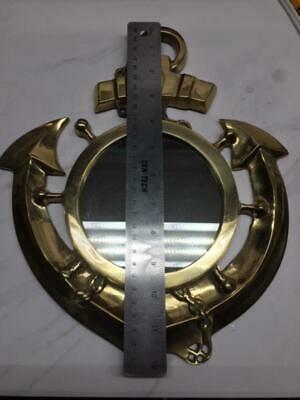 "Nautical Solid Brass Ship's Anchor & Wheel Mirror 12"" x 10-1/2"