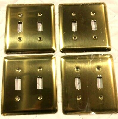 4 brass double Toggle antique vintage style  light switch plate covers New