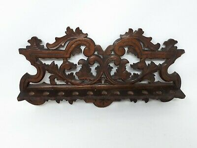 Antique Victorian Carved Oak Victorian Pipe Smokers Rack 43 x 23 cms