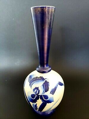 "Antique Hand Painted Iris Floral  Glass Vase Cobalt Gold Trim 9.75"" Tall Great!"