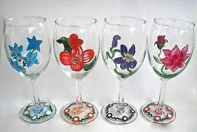 4 Hand Painted Wine Glasses Floral Designs Beveled Glass Stem
