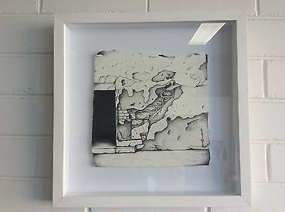 The Old Wall crumbling down. Original black pencil drawing On Stonehenge paper.
