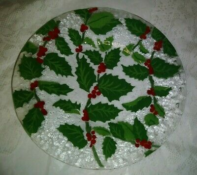 """Signed Anne C Ross 10"""" Holly Leaves & Berries Fused Art Glass Dinner Plate EXC"""