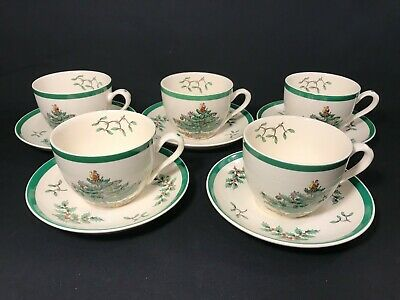 (5) Spode Christmas Tree Cups and Saucers - Set of 5 - Made in England EXCELLENT