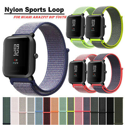 20mm Woven Nylon Sport Loop Wristband Watch Band Strap For Amazfit Bip Youth