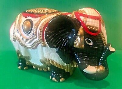 Vintage Ceramic Elephant Figurine Statue  Hand Painted Decorated Colorful Signed
