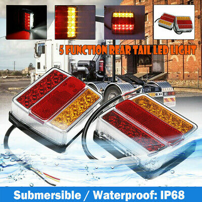 2X Submersible Waterproof 16 LED Stop Tail Lights Kit Boat Truck Trailer Lamp AU