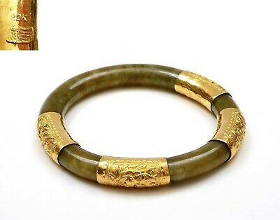 1930's Chinese Jade Jadeite Carved Carving Bracelet Bangle with 22K Gold Marked