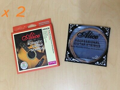"2 Sets Alice AW436-SL Professional Acoustic Guitar Strings (.011""~.052"")"