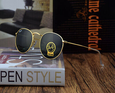 Ray-Ban Sunglasses RB 3447 001 50-21 Round Metal Gold Frame Green Lens G-15
