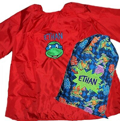 Kids Personalised Art Smock  / Paint Shirt & Library Bag TMNT -First name FREE