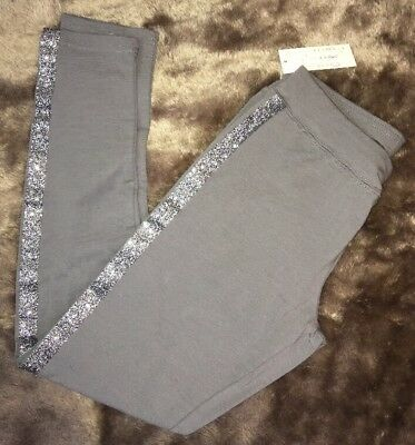 NWT C R B Girls Gray Leggings Large 14 Side sparkle Stretch Retail $20