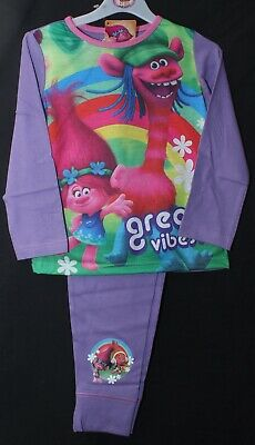 "Dreamworks TROLLS Pyjamas Girl's Official ""great vibes!"" Lilac PJs  4-10 years"