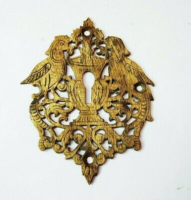 Antique 1850s Brass Door Escutcheon Keyhole Plate Cover Bird /Peacock Design k2/