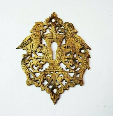 Antique 1850s Brass Door Escutcheon Keyhole Plate Cover Bird /Peacock Design k2