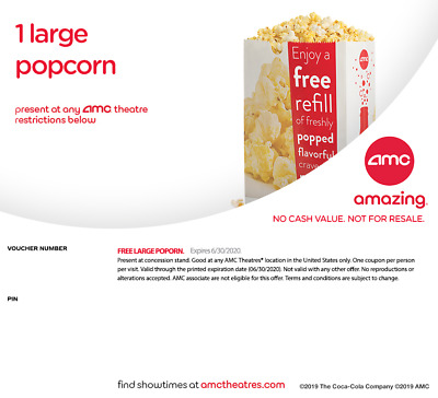 An AMC Large Popcorn for Holiday expired 06/2020 Instant Delivery by Email 24hrs