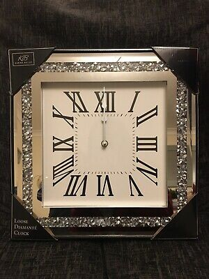 Loose Diamante Mirrored Wall Clock Crushed Crystals Roman Numerals Glam 35x35cm