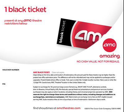 One AMC Theaters Black Ticket Never Expired Instant Delivery by Email 24hrs